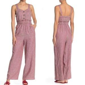 Romeo + Juliet Couture Button Front Linen Jumpsuit